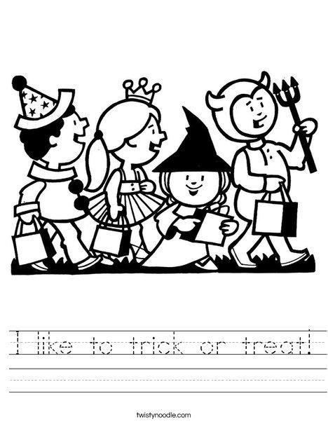 Trick or Treaters Worksheet