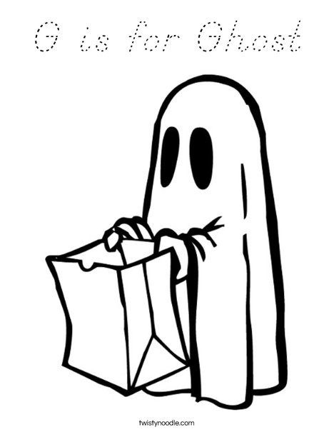 Trick or treating Ghost Coloring Page