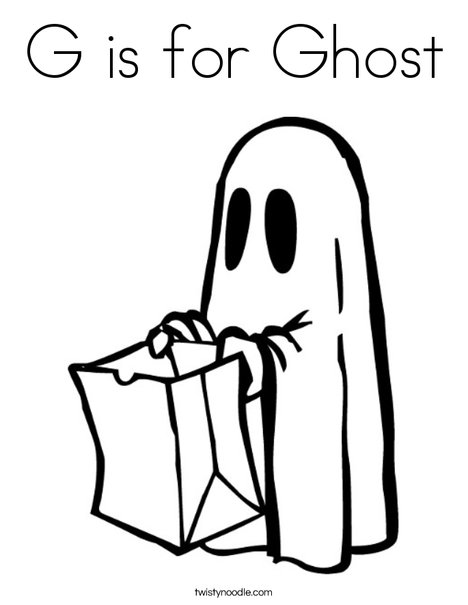 G is for Ghost Coloring Page - Twisty Noodle