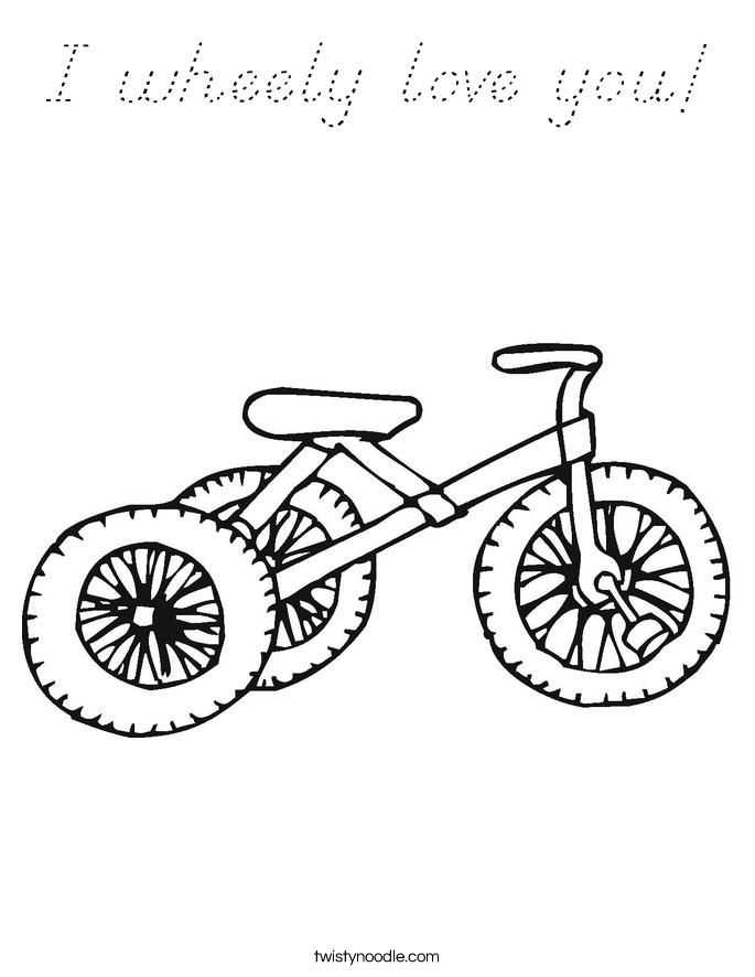 I wheely love you! Coloring Page