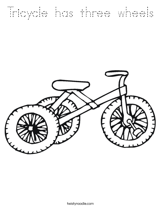 Tricycle has three wheels Coloring Page