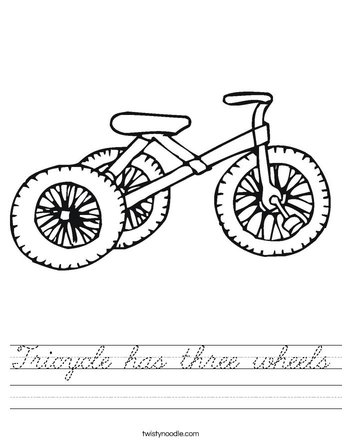 Tricycle has three wheels Worksheet