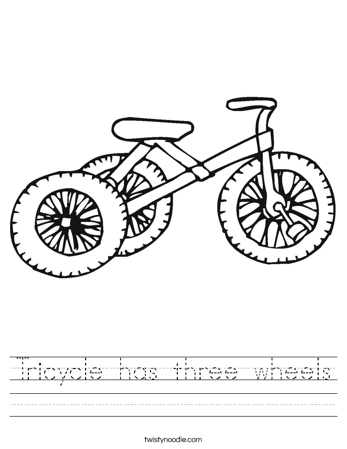 Tricycle has three wheels Worksheet