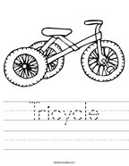Tricycle Handwriting Sheet