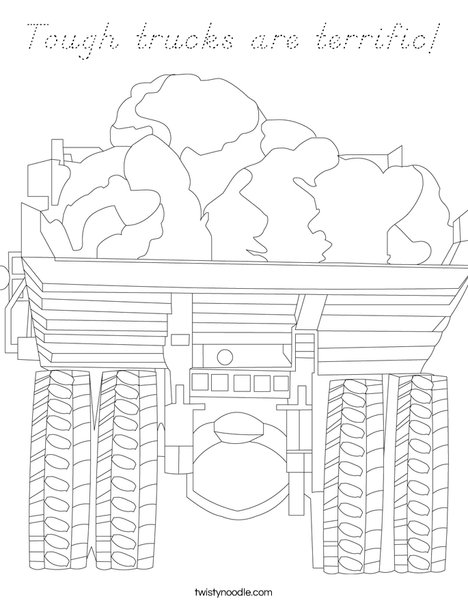 Truck with Rocks Coloring Page