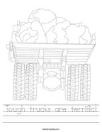 Tough trucks are terrific Handwriting Sheet