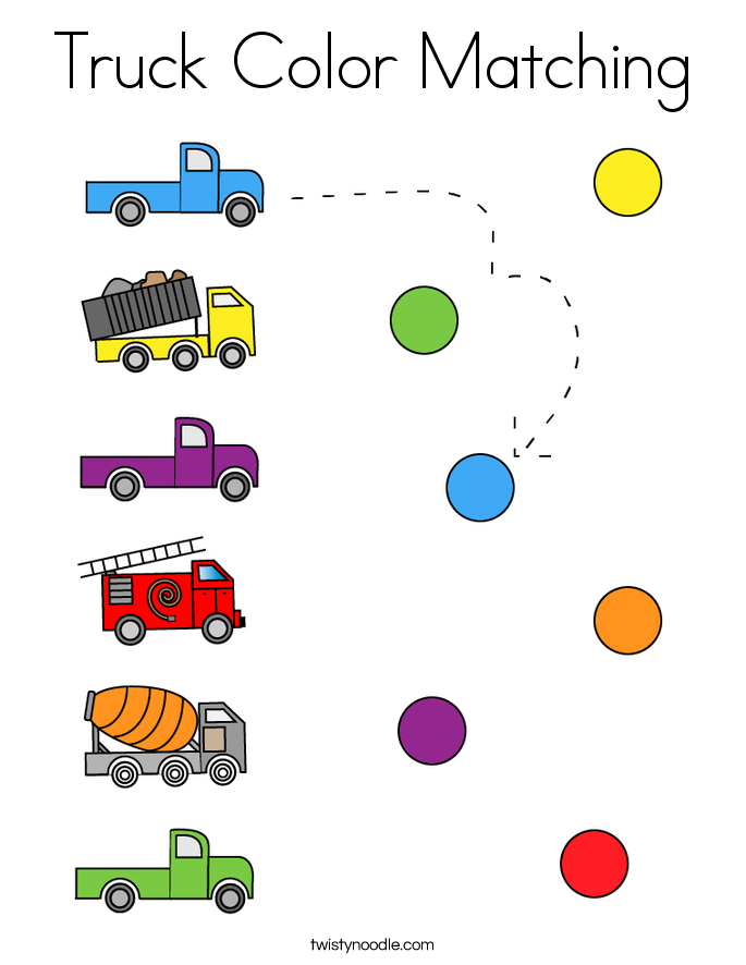 Truck Color Matching Coloring Page