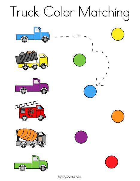 Truck Coloring Matching Coloring Page