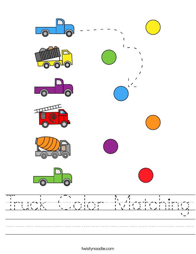 Truck Color Matching Worksheet