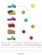 Truck Color Matching Handwriting Sheet
