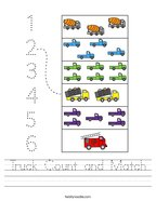 Truck Count and Match Handwriting Sheet