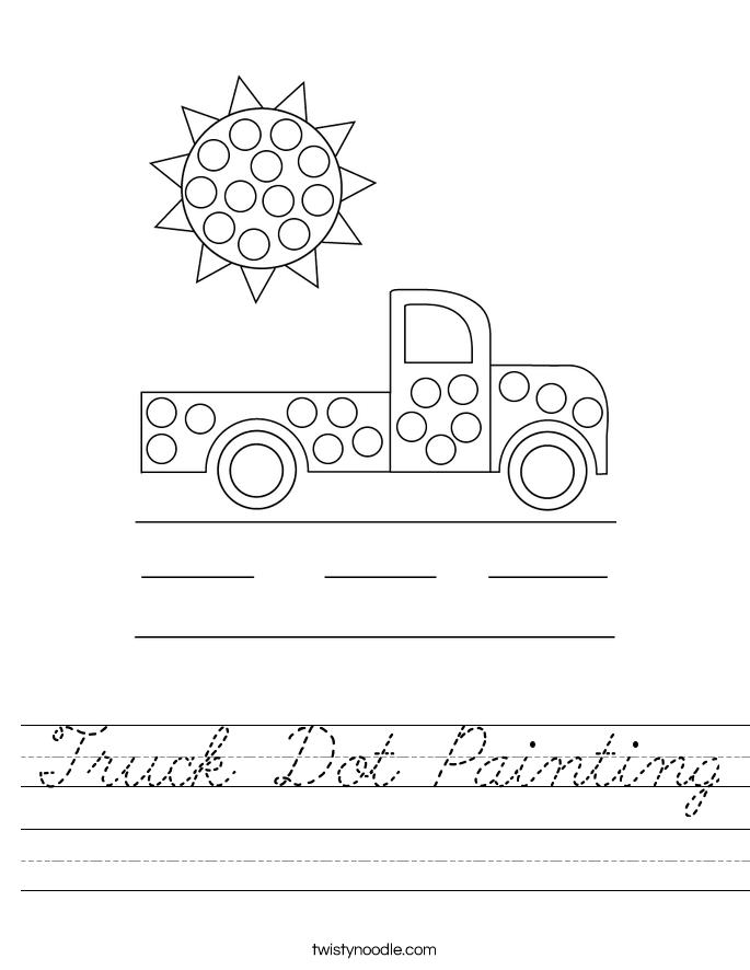 Truck Dot Painting Worksheet