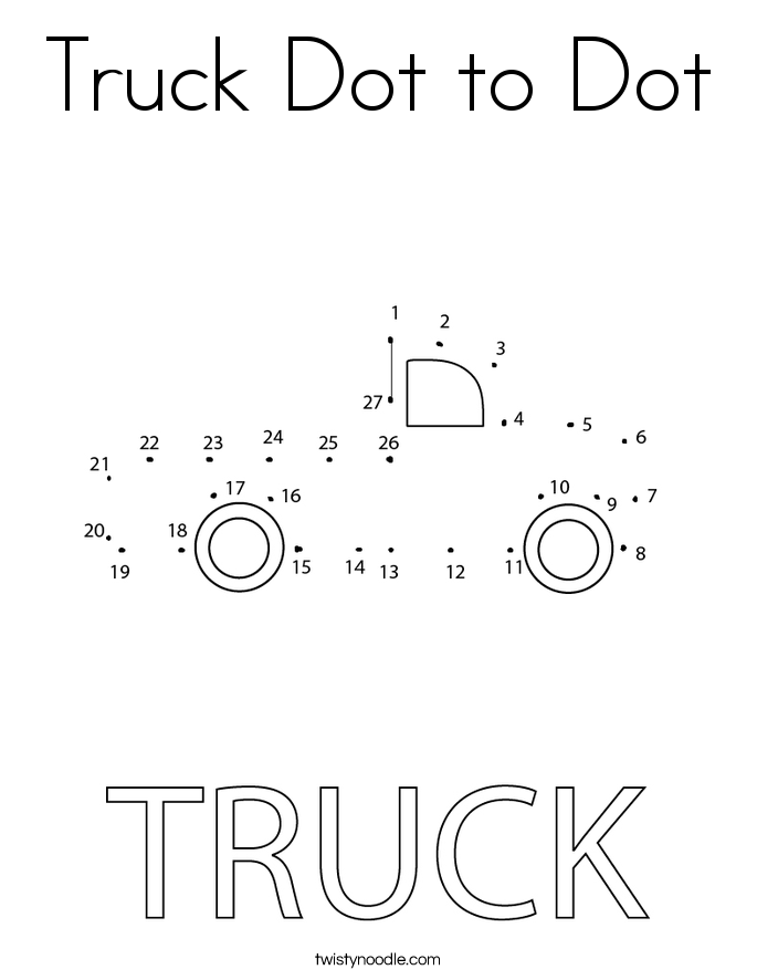 Truck Dot to Dot Coloring Page