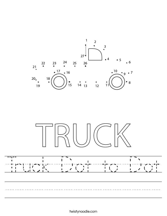 Truck Dot to Dot Worksheet