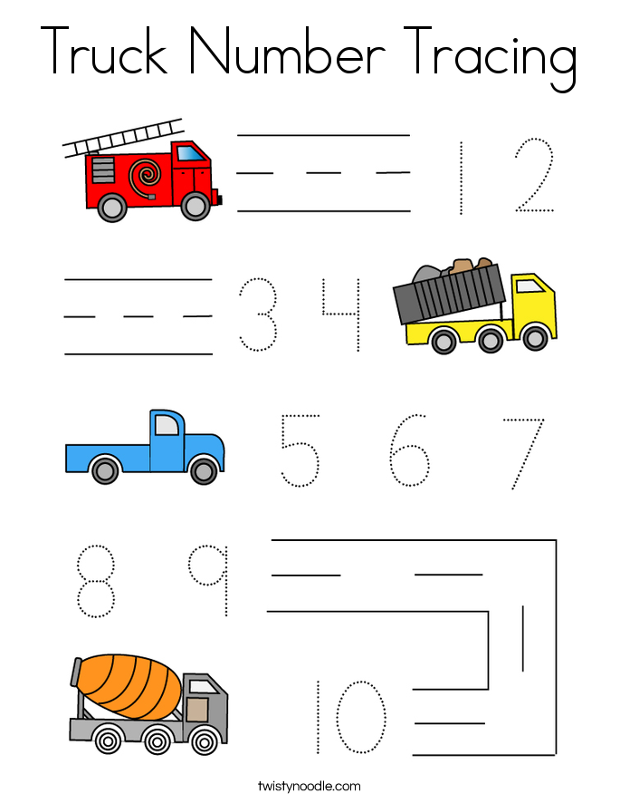 Truck Number Tracing Coloring Page