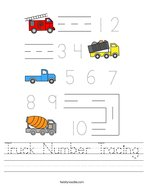 Truck Number Tracing Handwriting Sheet