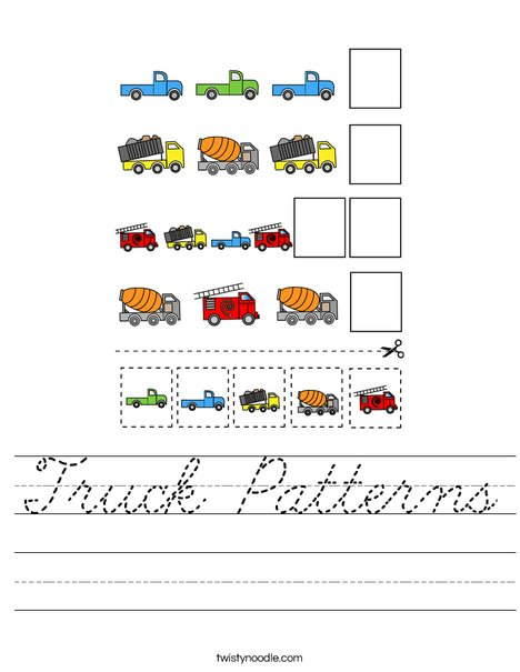 Truck Patterns Worksheet