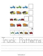 Truck Patterns Handwriting Sheet