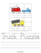 Truck Puzzle Handwriting Sheet