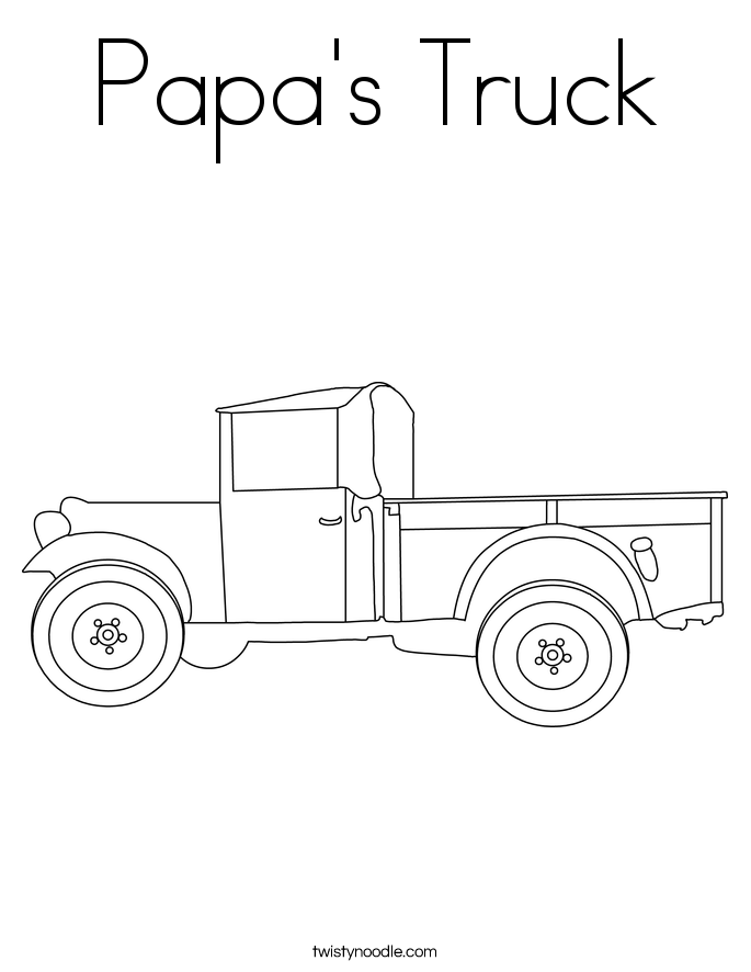 Papa's Truck Coloring Page