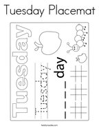 Tuesday Placemat Coloring Page