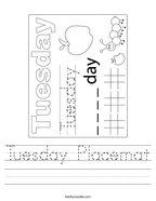 Tuesday Placemat Handwriting Sheet