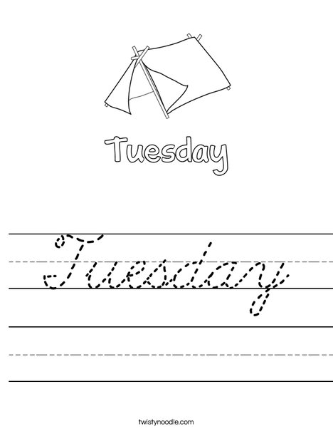 Tuesday Worksheet Cursive Twisty Noodle