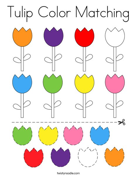 Tulip Color Matching Coloring Page