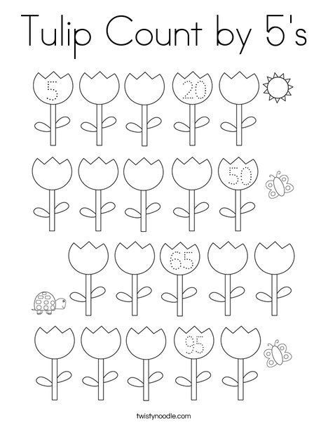 Tulip Count by 5's Coloring Page
