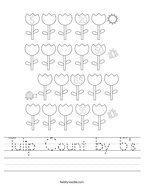 Tulip Count by 5's Handwriting Sheet