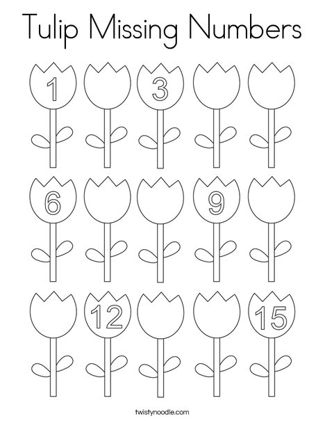 Tulip Missing Numbers Coloring Page