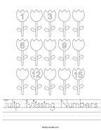 Tulip Missing Numbers Handwriting Sheet