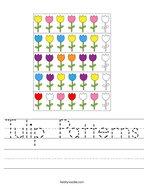 Tulip Patterns Handwriting Sheet