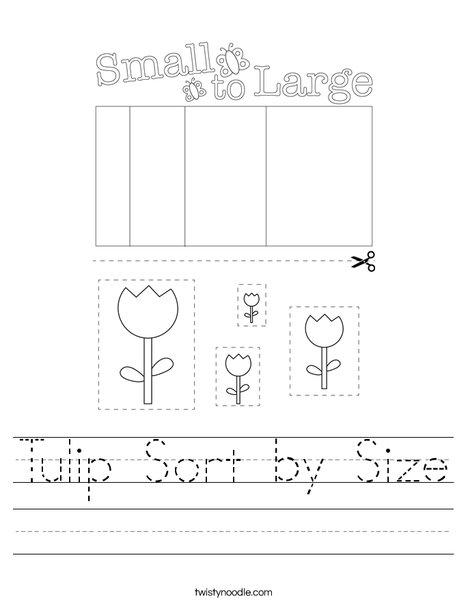 Tulip Sort by Size Worksheet