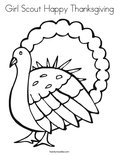 Girl Scout Happy ThanksgivingColoring Page