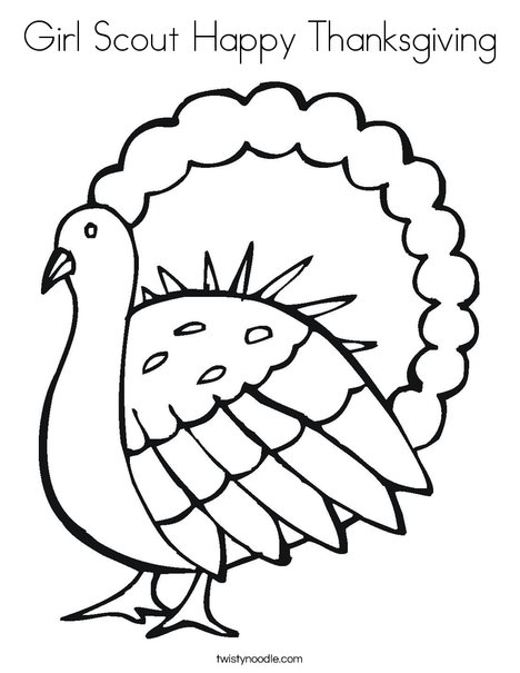 - Girl Scout Happy Thanksgiving Coloring Page - Twisty Noodle