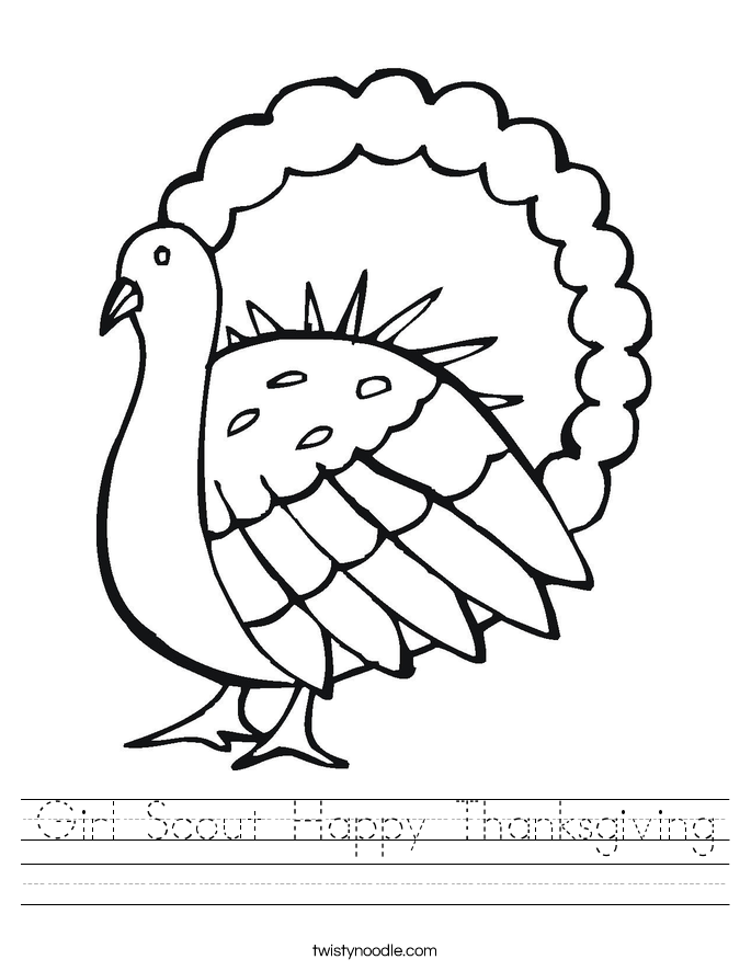 Girl Scout Happy Thanksgiving Worksheet