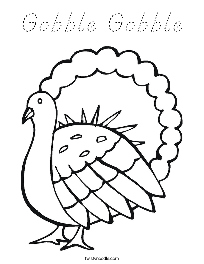 Gobble Gobble Coloring Page