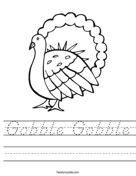 Gobble Gobble Turkey Worksheet