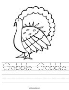 Gobble Gobble Handwriting Sheet