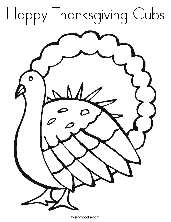Happy Thanksgiving Cubs Coloring Page