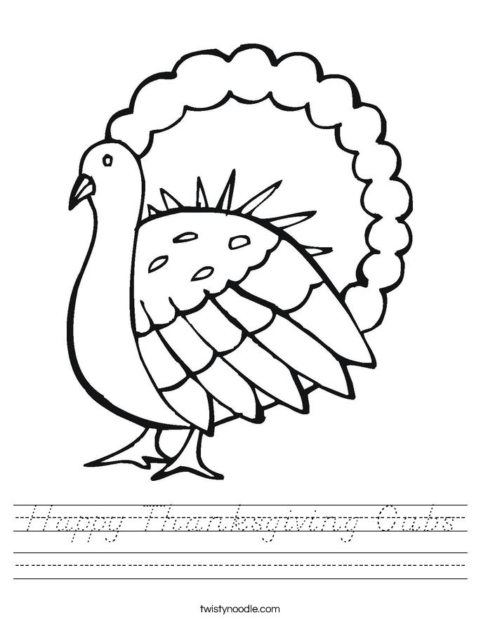 Happy Thanksgiving Cubs Worksheet