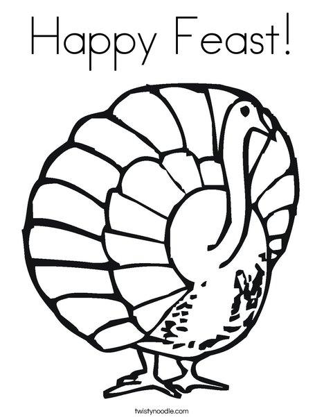 Happy Feast Turkey Coloring Page
