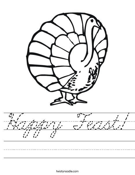 Happy Feast Turkey Worksheet