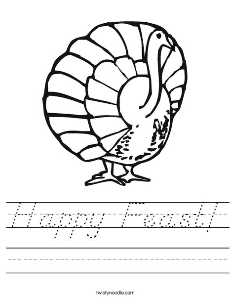 Happy Feast Turkey Worksheet
