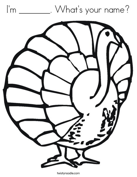 Happy Feast Turkey Coloring Page