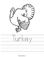 Turkey Handwriting Sheet