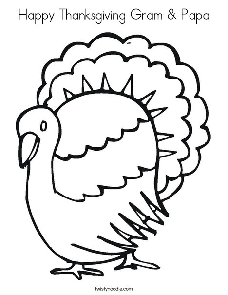 T is for Turkey Coloring Page