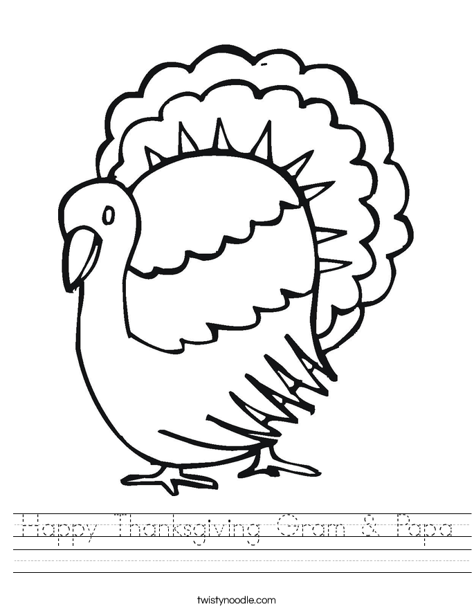 Happy Thanksgiving Gram & Papa Worksheet