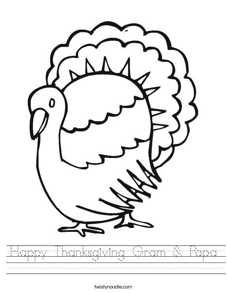 T is for Turkey Worksheet